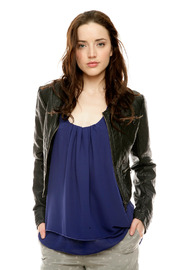 Members Only Cropped Moto Jacket - Front cropped