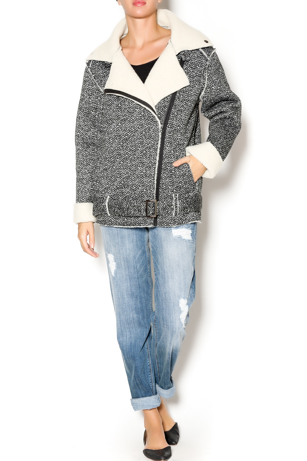 J.O.A. Faux Shearling Jacket - Front Full Image
