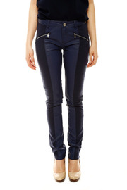 Laura Jo Navy Faux Leather Pants - Front cropped