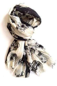 Shoptiques Product: Skull And Hibiscus Scarf