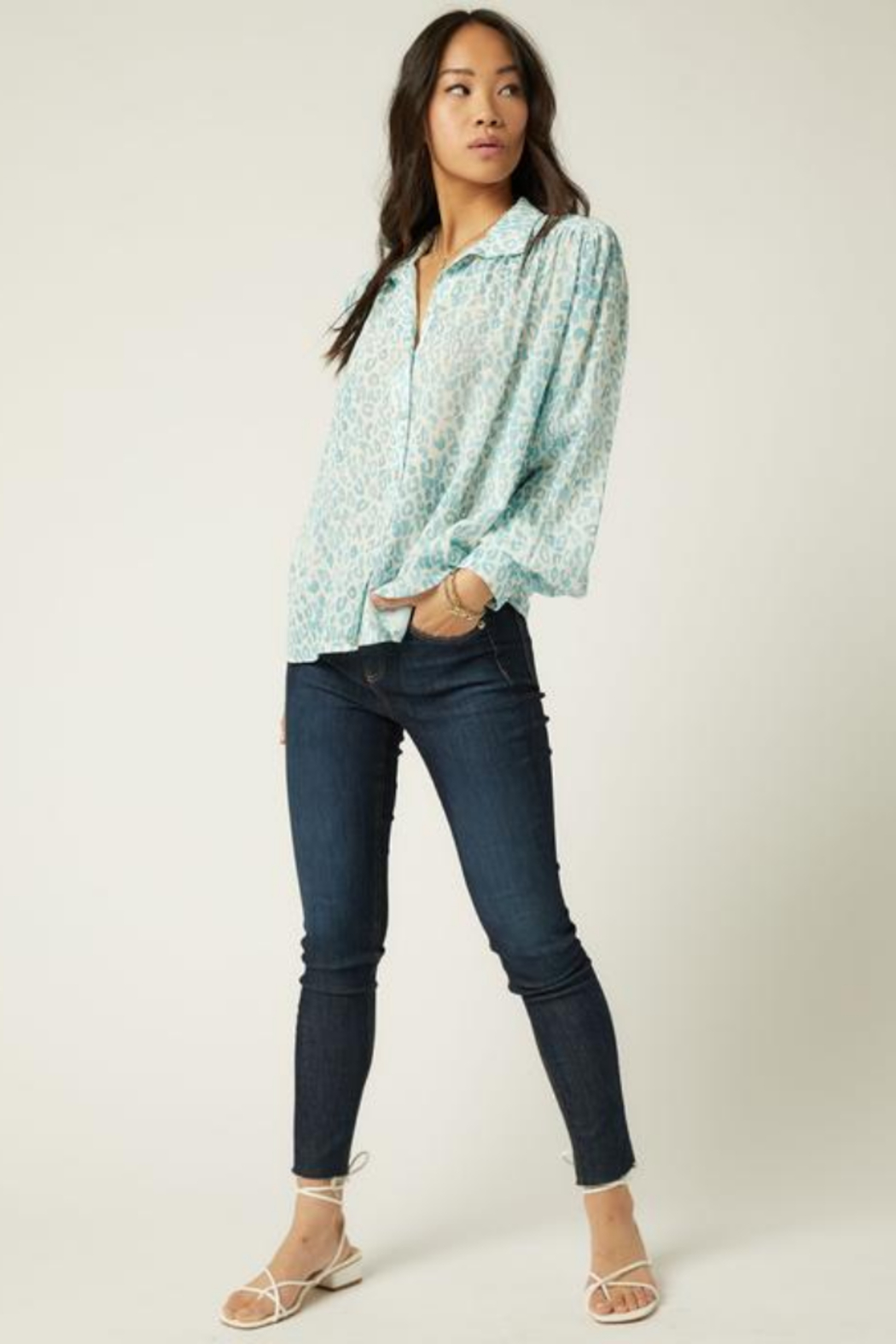 Fifteen Twenty 1F49508 - Shirred Button-Up Blouse - Side Cropped Image