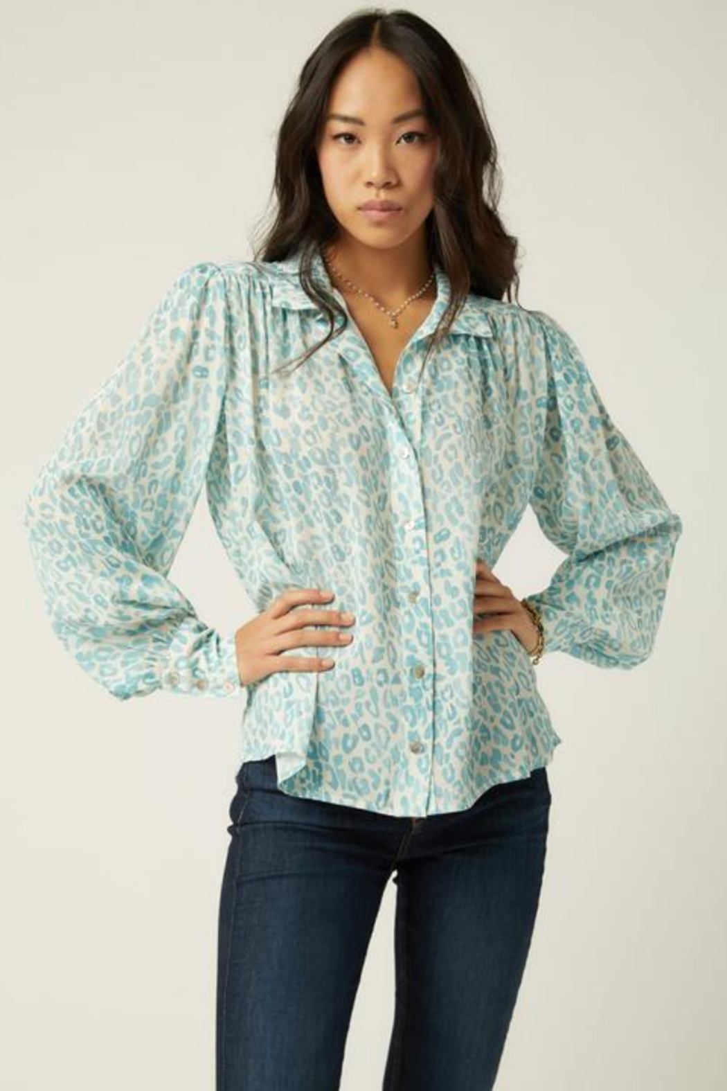 Fifteen Twenty 1F49508 - Shirred Button-Up Blouse - Front Cropped Image