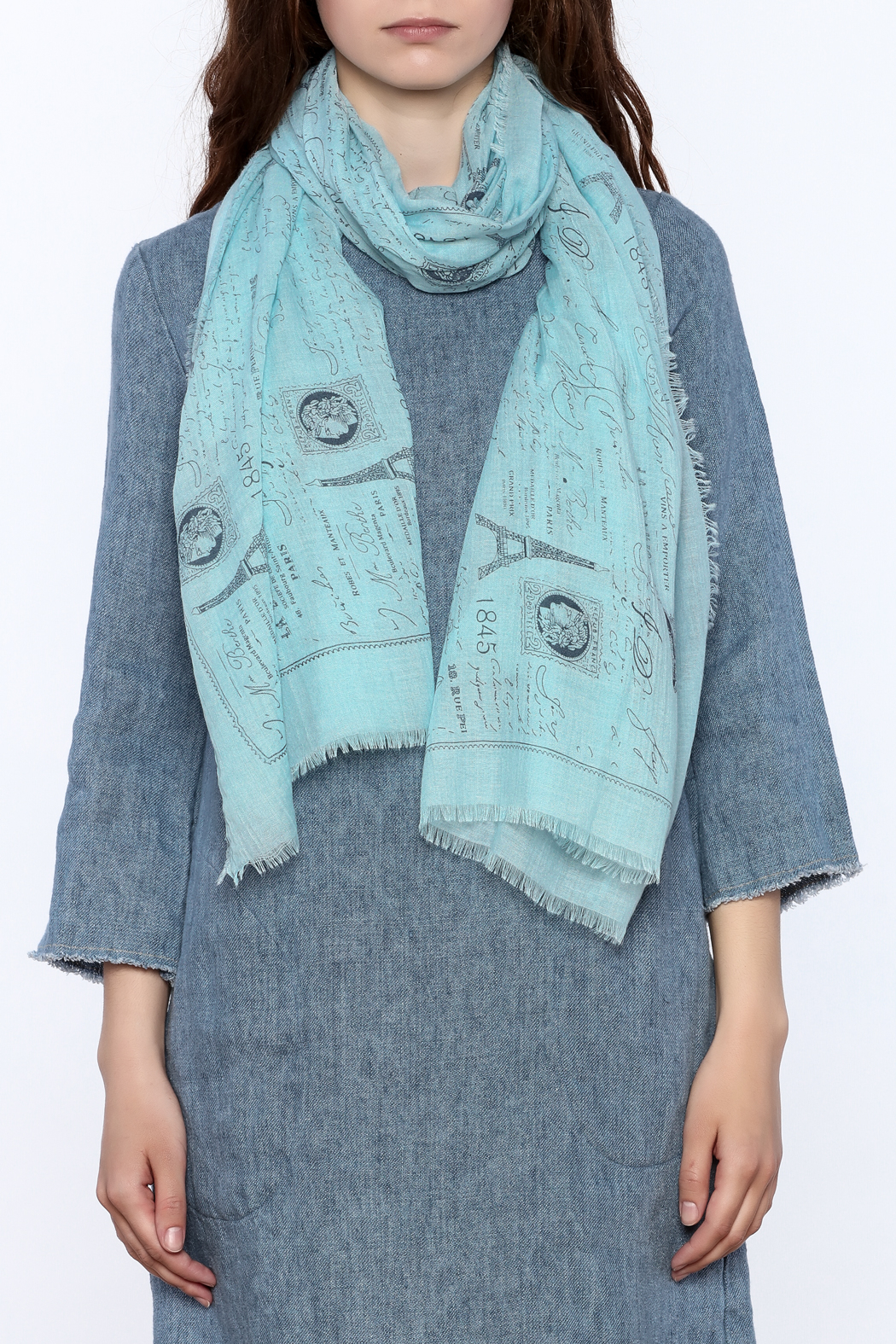 2 Chic Eiffel Tower Print Scarf - Back Cropped Image