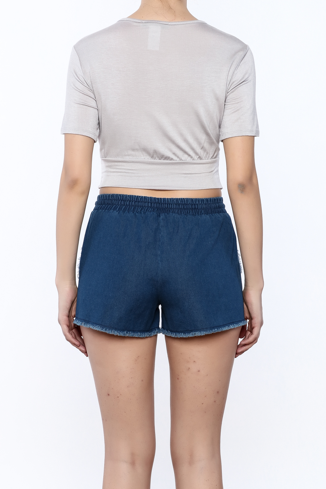 2 Hearts Twist-Knot Cropped Tee - Back Cropped Image
