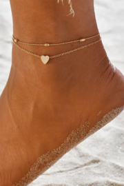 dani & em Heart Mix Layered Anklet - Front cropped