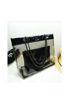 The Birds Nest 2 PCS- CLEAR QUILTED TRIMMED BAG WITH CHAIN STRAP(2 COLORS) - Alternate List Image