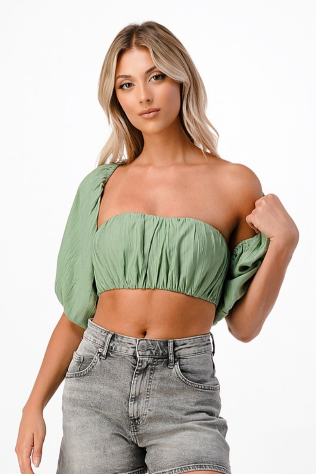 MNI LA 2 Piece Tube Top Bell Sleeve - Side Cropped Image