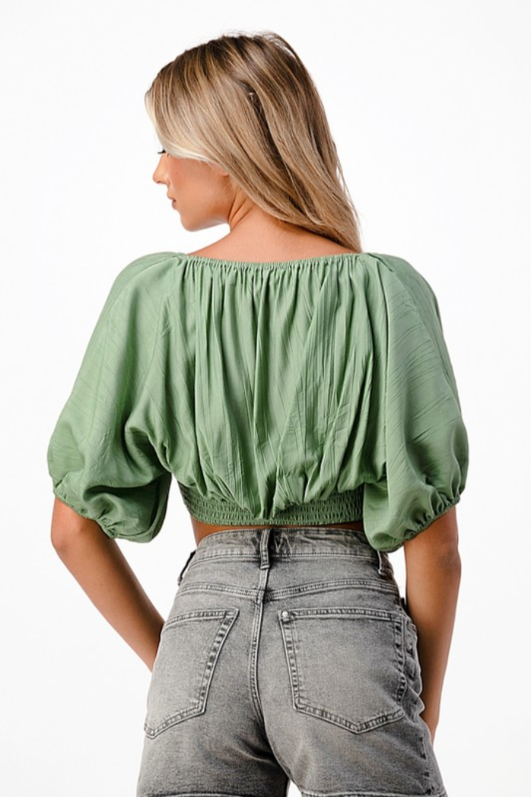 MNI LA 2 Piece Tube Top Bell Sleeve - Back Cropped Image