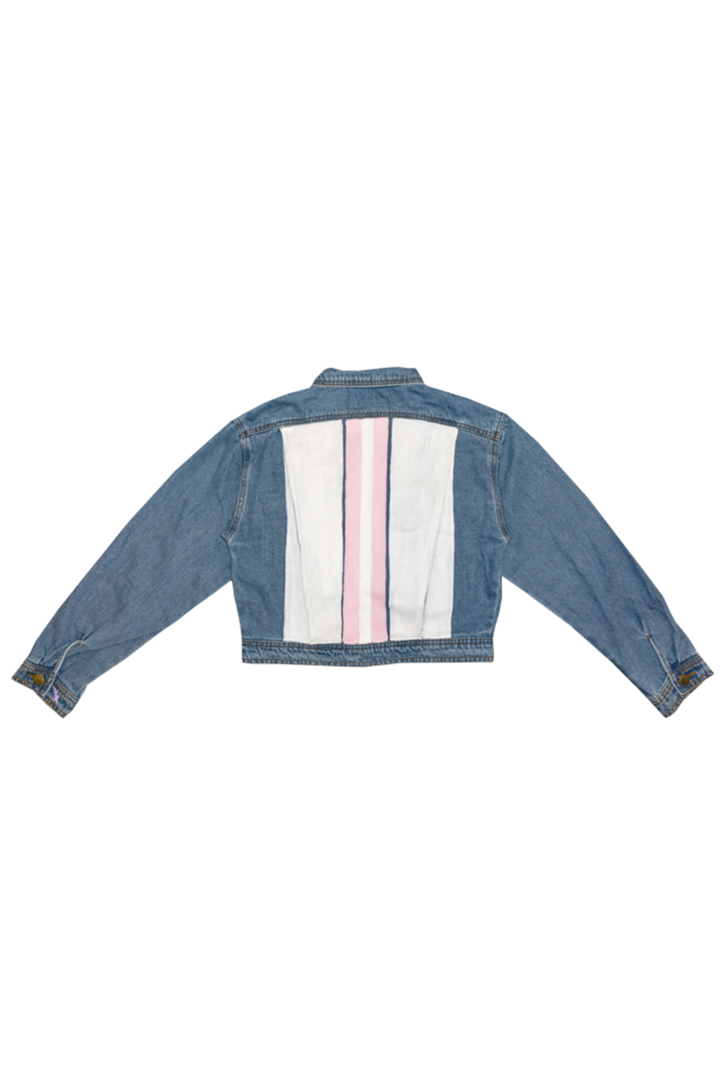 Avery Rowan Art 2 Pink Srtipes on White Back Blue Denim Crop Jacket - Back Cropped Image
