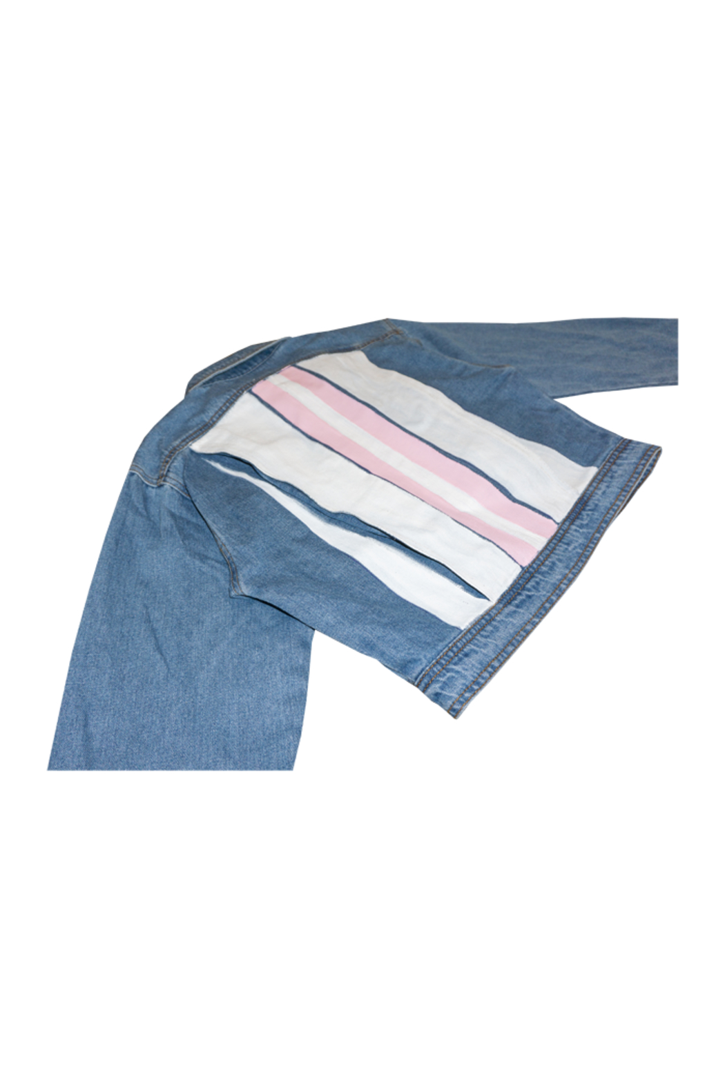 Avery Rowan Art 2 Pink Srtipes on White Back Blue Denim Crop Jacket - Side Cropped Image