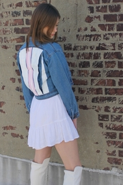 Avery Rowan Art 2 Pink Srtipes on White Back Blue Denim Crop Jacket - Other