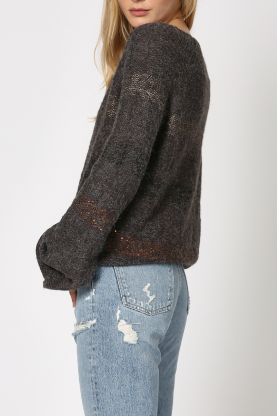 By Together 2 tone poncho shaped sweater - Front Full Image