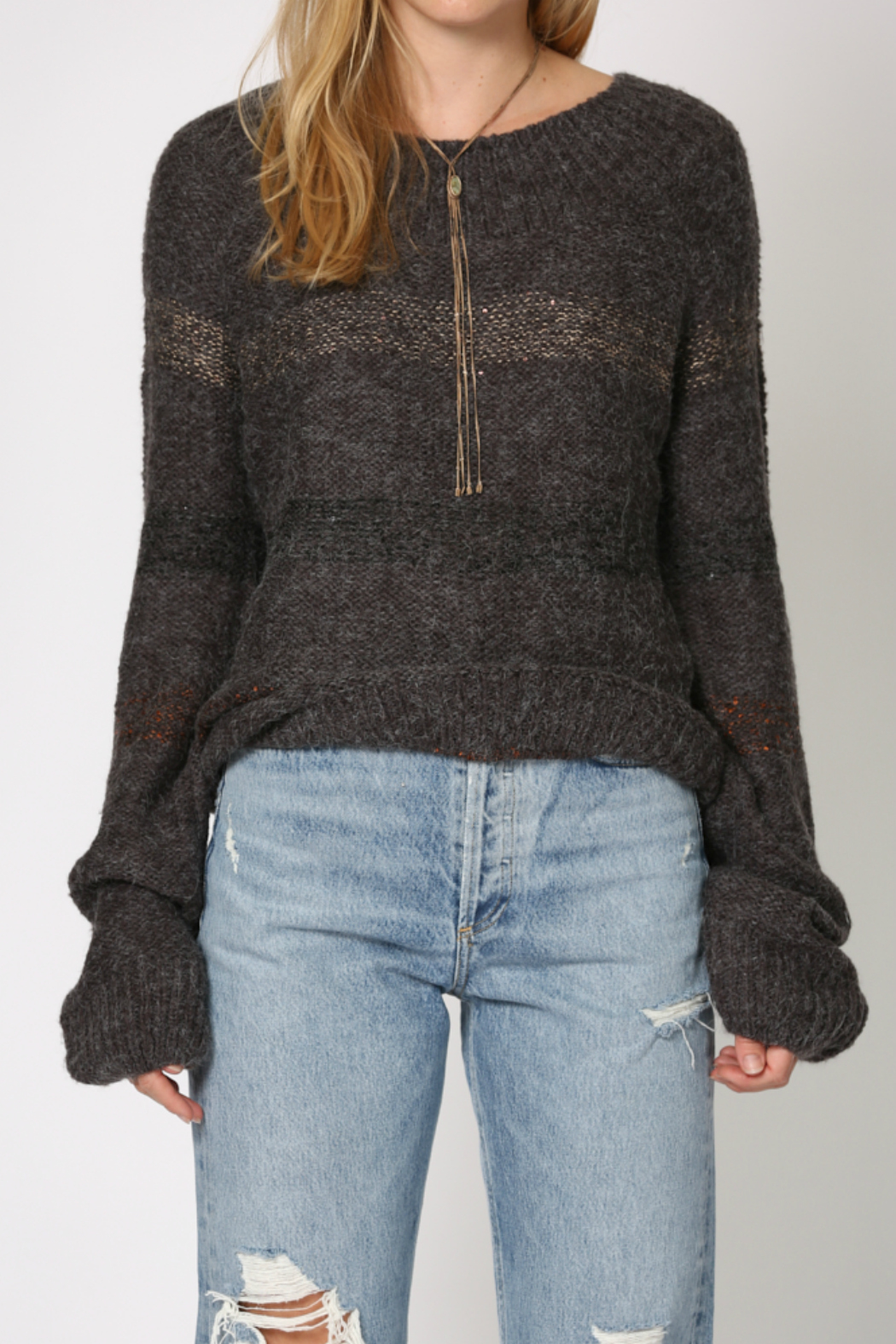 By Together 2 tone poncho shaped sweater - Main Image