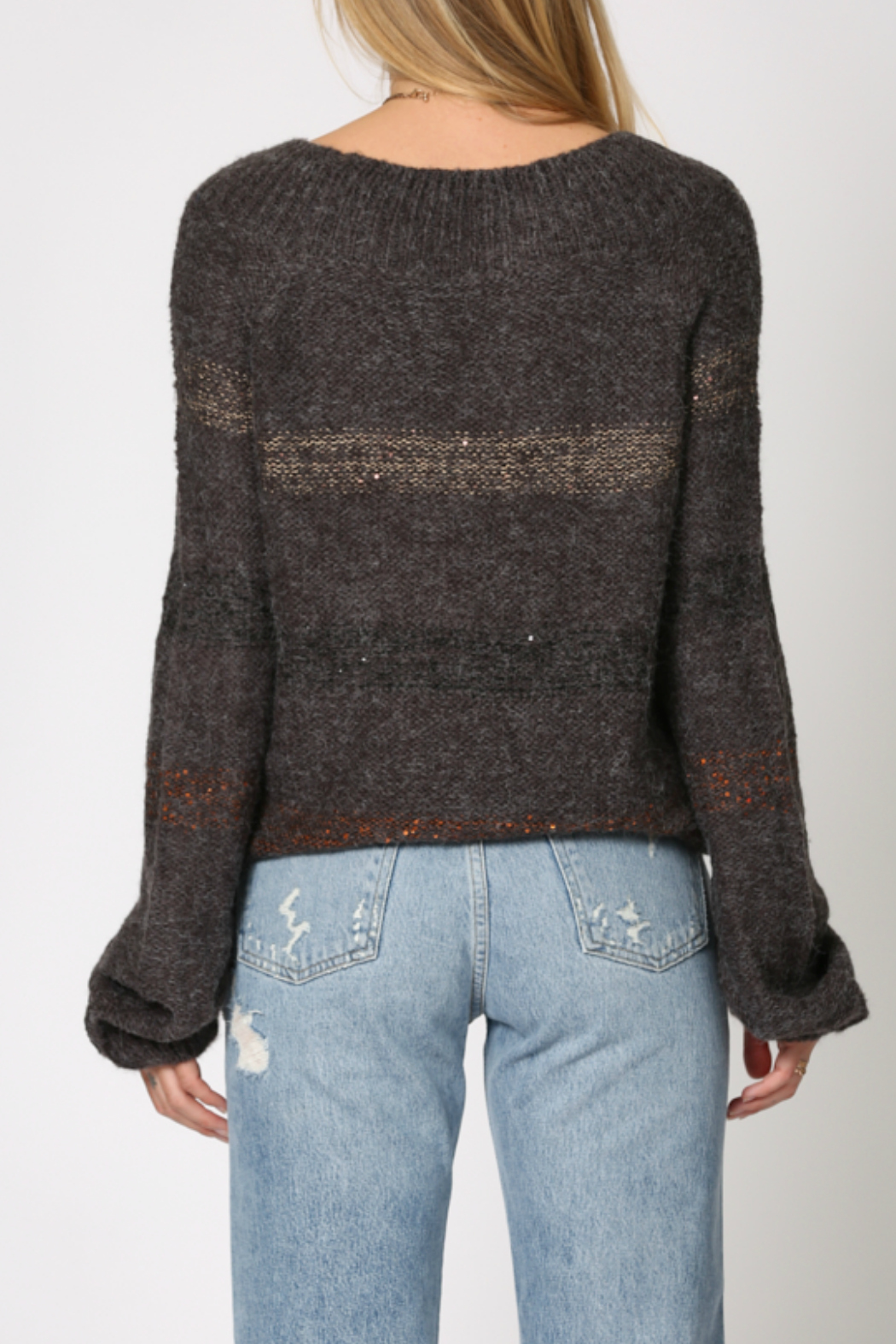 By Together 2 tone poncho shaped sweater - Side Cropped Image