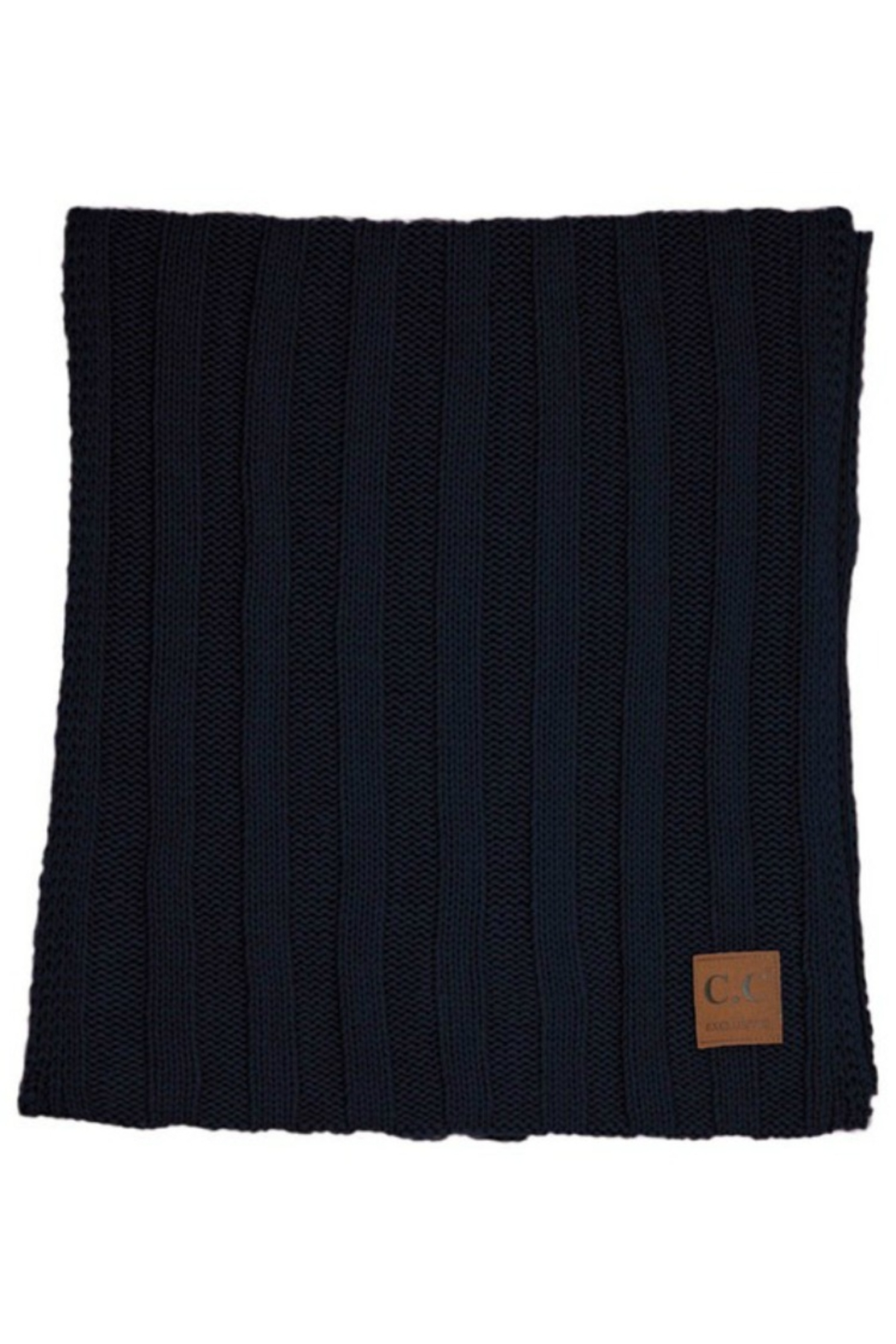 CC Beanie 2 X Wide Ribbed Scarf - Front Cropped Image