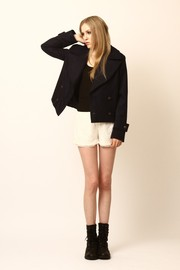 Dress Up Cropped Silas Peacoat - Front full body