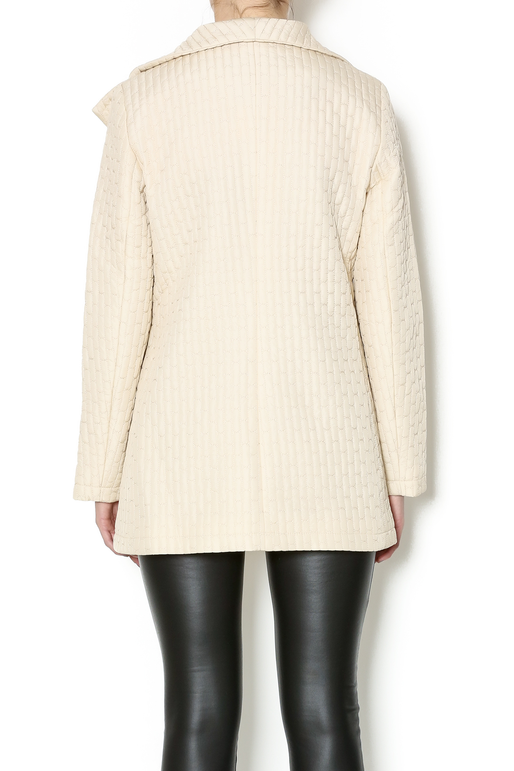 209 West Quilted Cream Jacket - Back Cropped Image