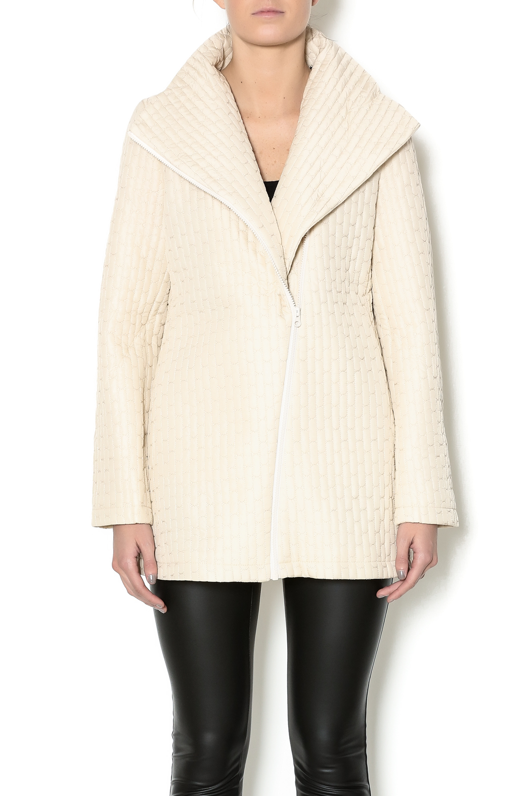 209 West Quilted Cream Jacket - Main Image