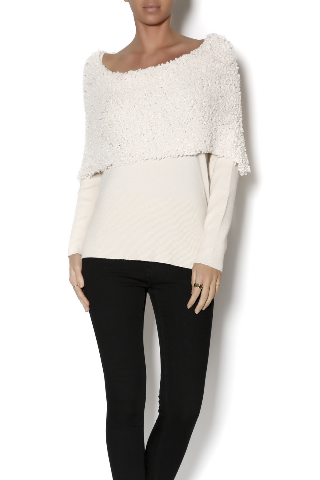 Talk of the Walk Textured Shimmer Sweater - Front Cropped Image