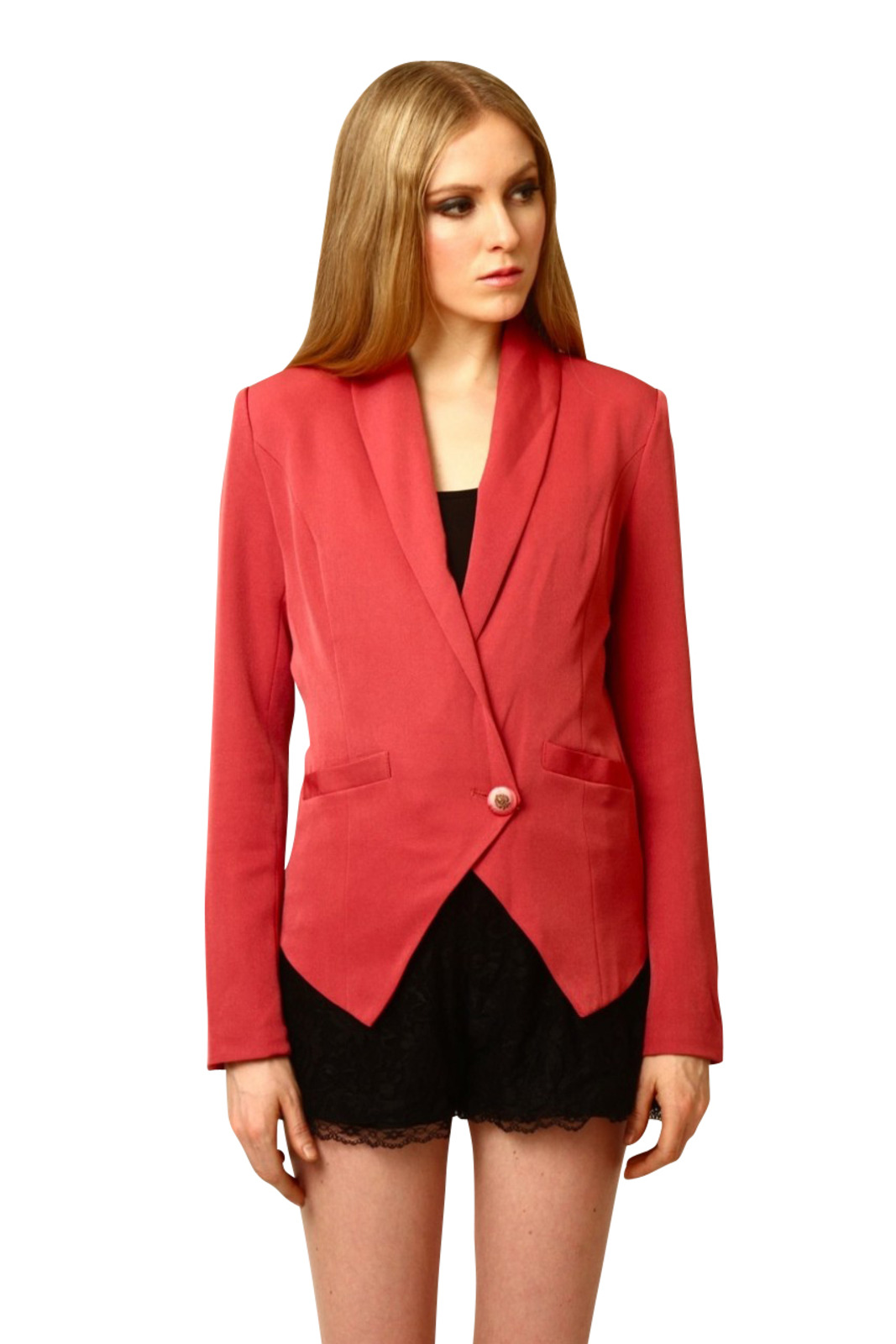Dress Up Tuxedo One-Button Blazer - Front Cropped Image