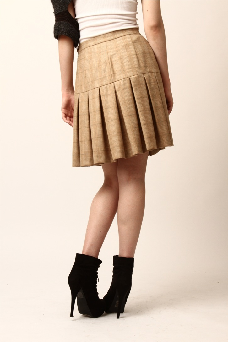 Patricia Del Castillo Knee-Length Pleated Skirt - Side Cropped Image