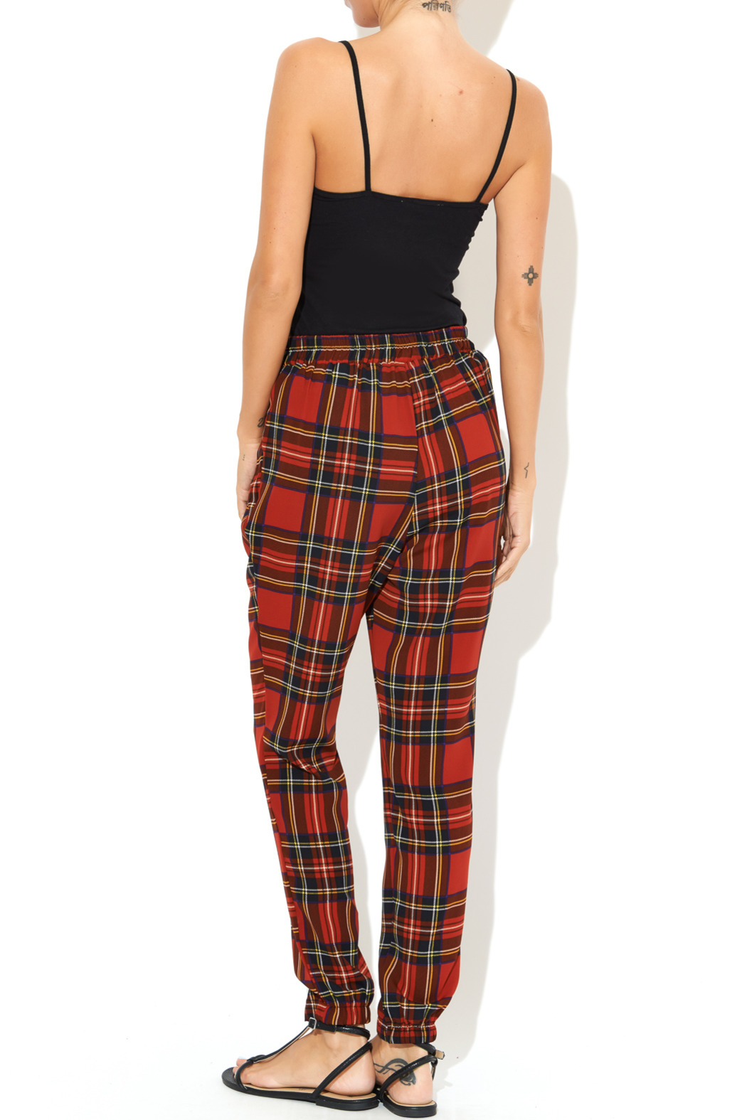 See You Monday Red Tartan Print Pants - Side Cropped Image