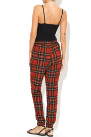 See You Monday Red Tartan Print Pants - Side cropped
