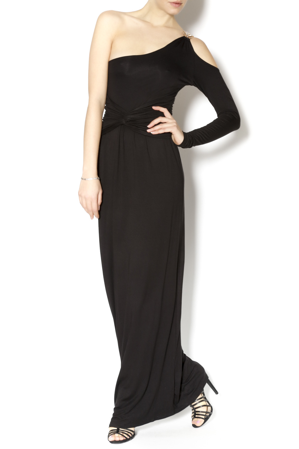 Double Zero Black Grecian Maxi - Front Cropped Image