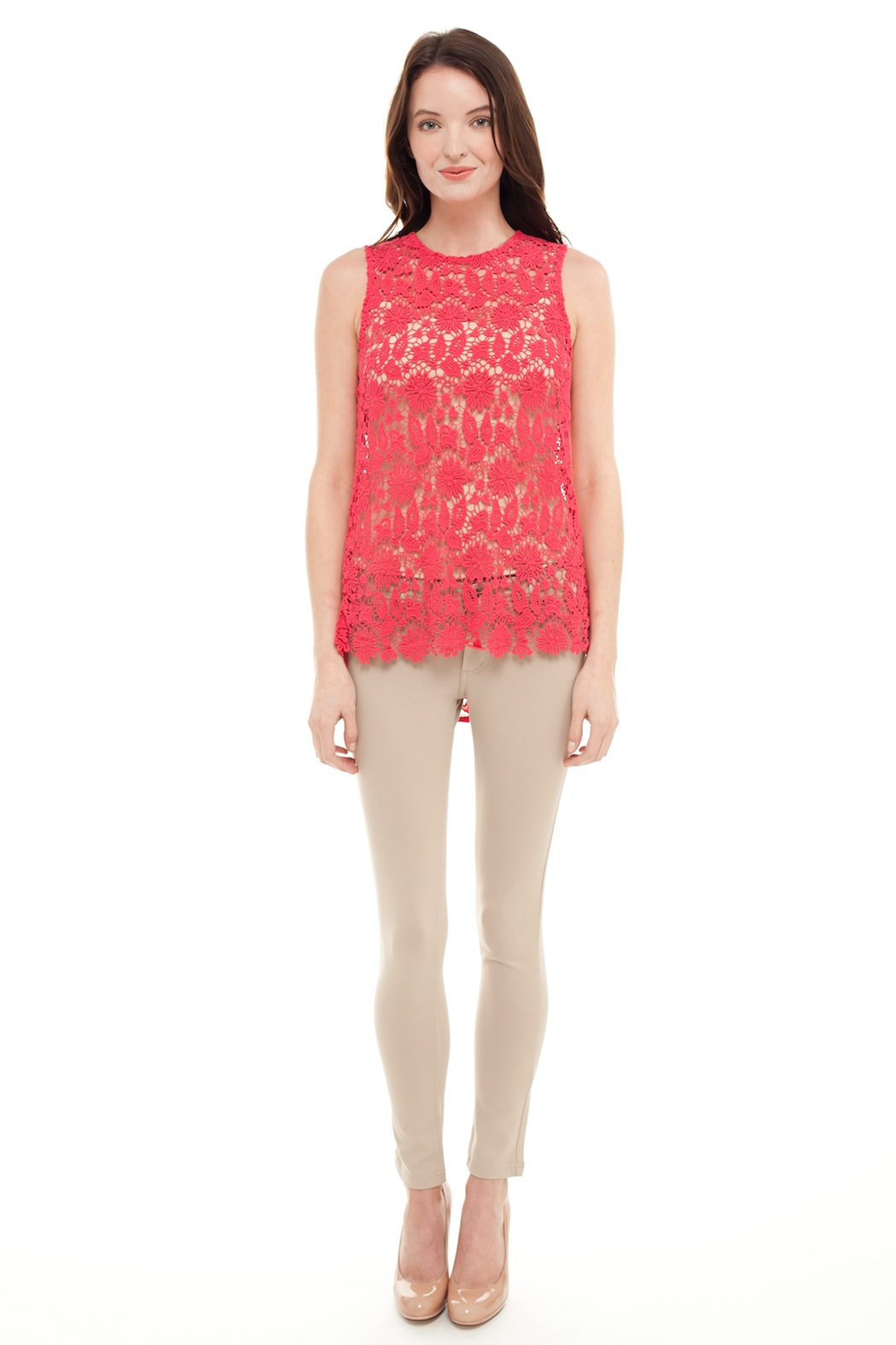 Alison Stiles Lace Crochet Knit Top - Front Full Image