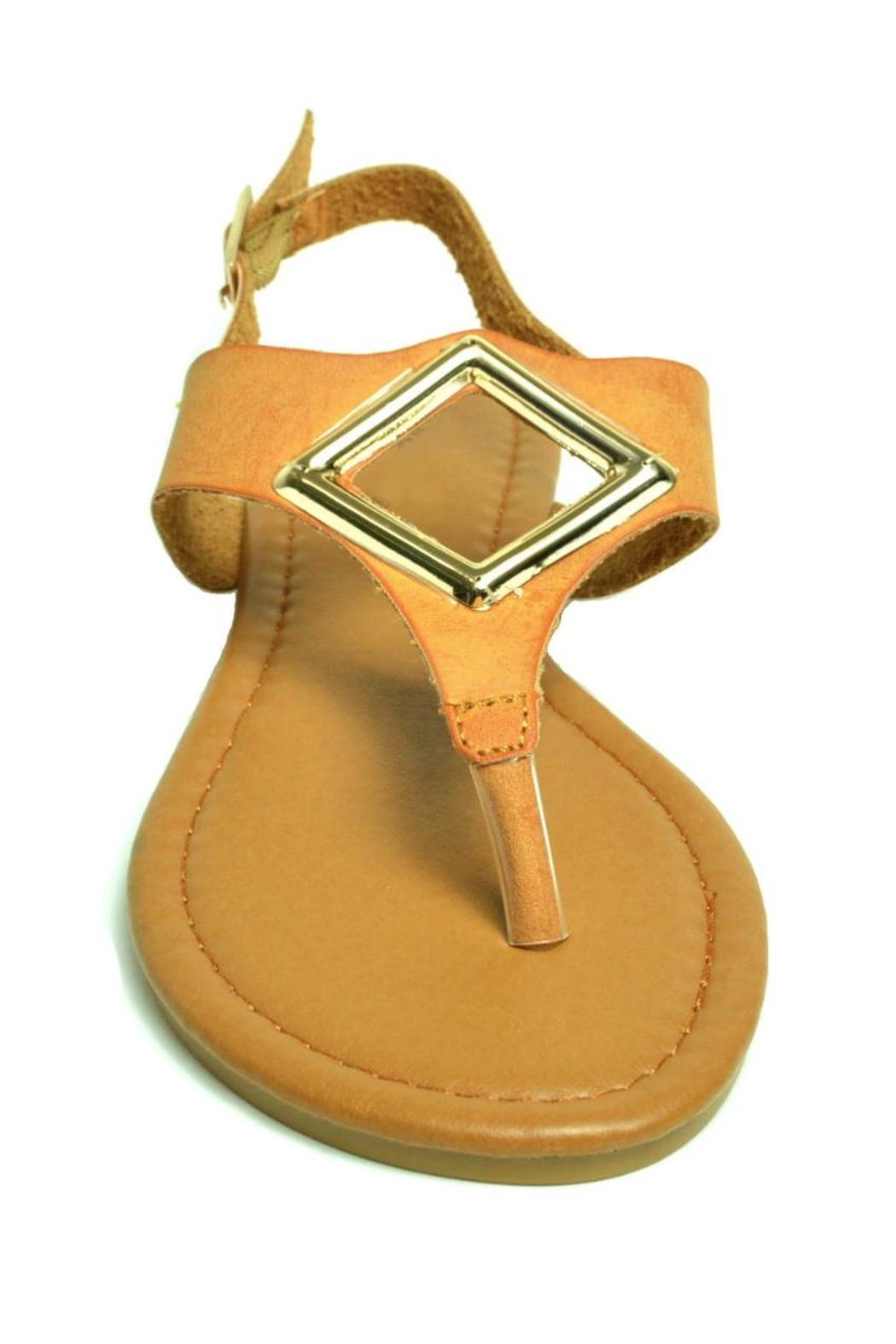 Qupid T-Strap, Metallic Ornament-Sandal - Back Cropped Image