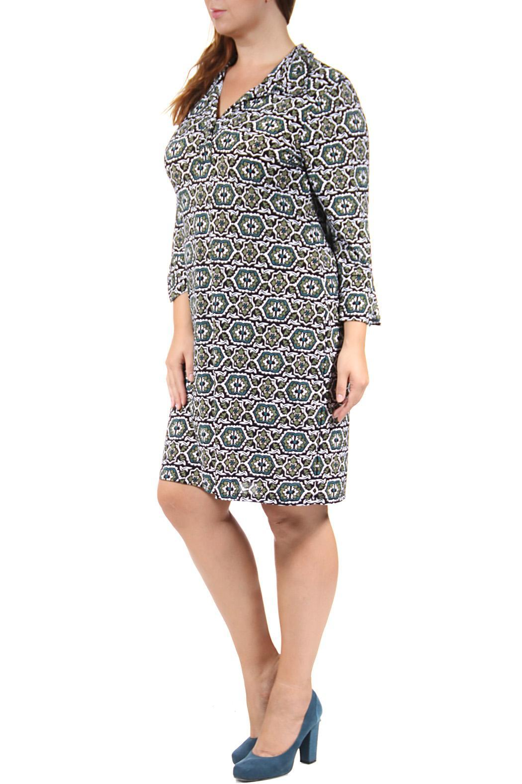 24/7 Comfort Apparel Collared Henley Dress - Front Full Image