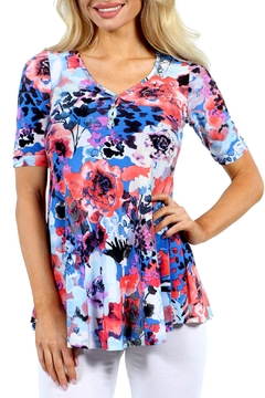 24/7 Comfort Apparel Floral Tunic Top - Product List Image