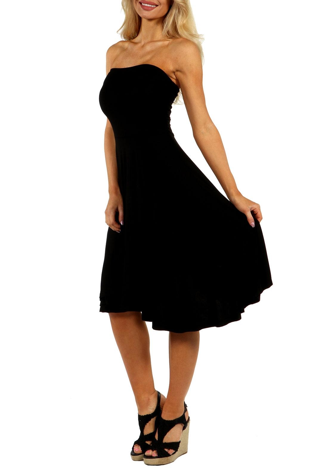 24/7 Comfort Apparel Irresistible Strapless Dress - Front Full Image