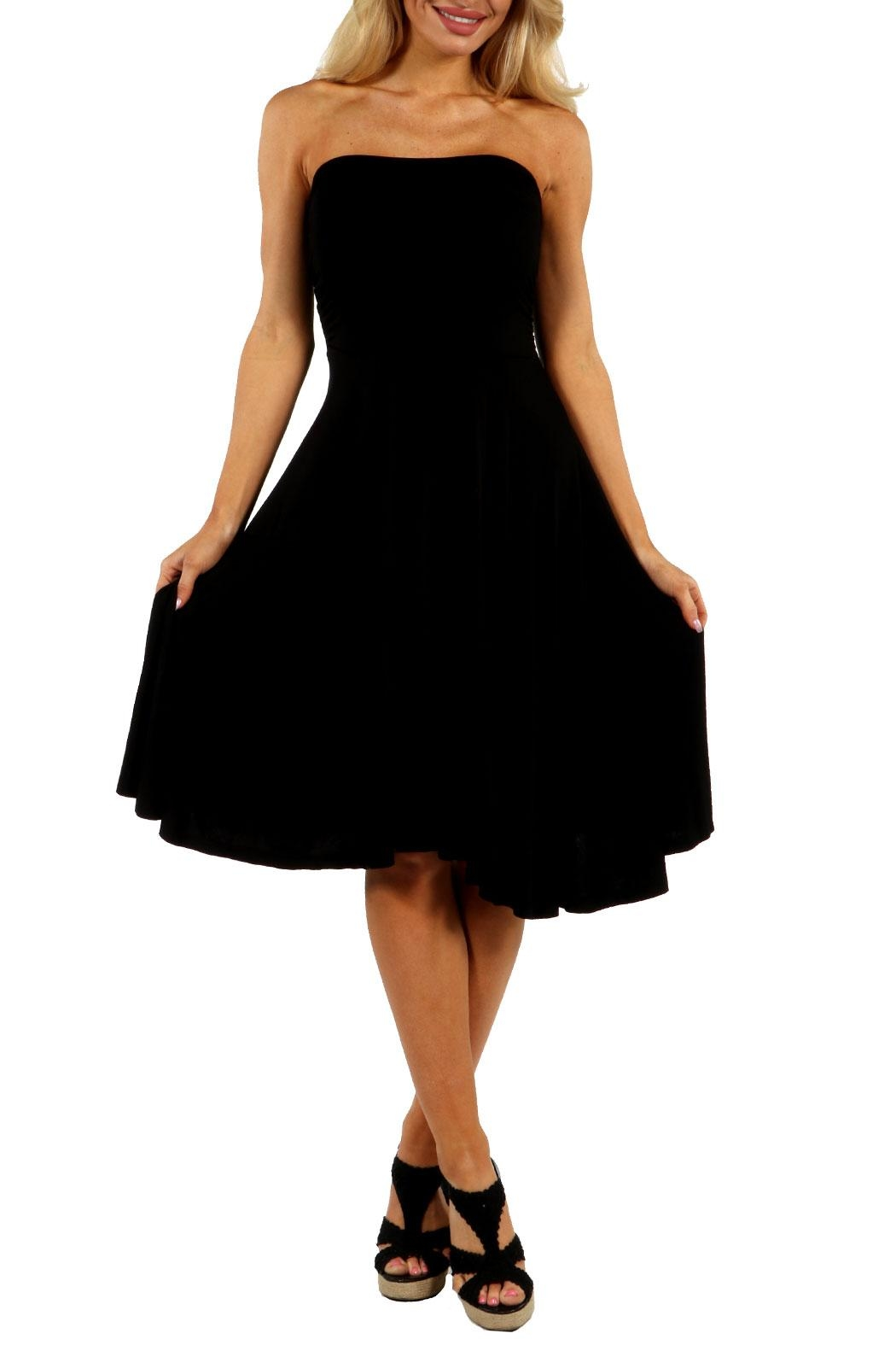 24/7 Comfort Apparel Irresistible Strapless Dress - Front Cropped Image