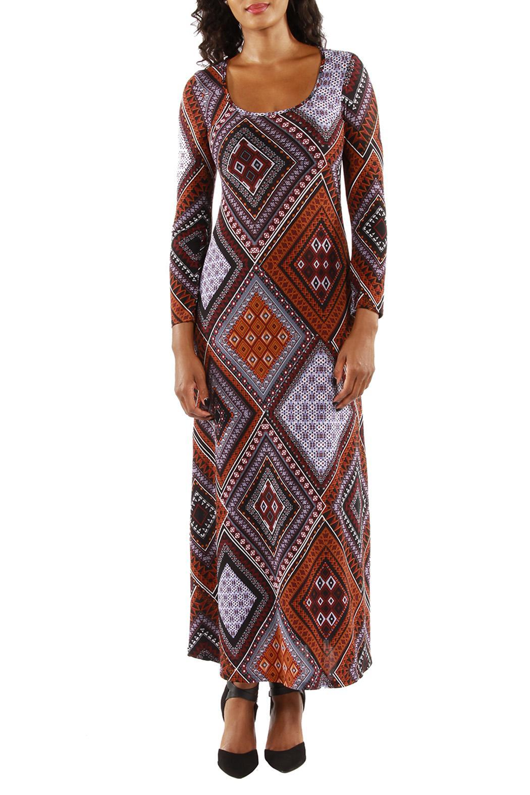24/7 Comfort Apparel Patterned Maxi Dress from California by The ...