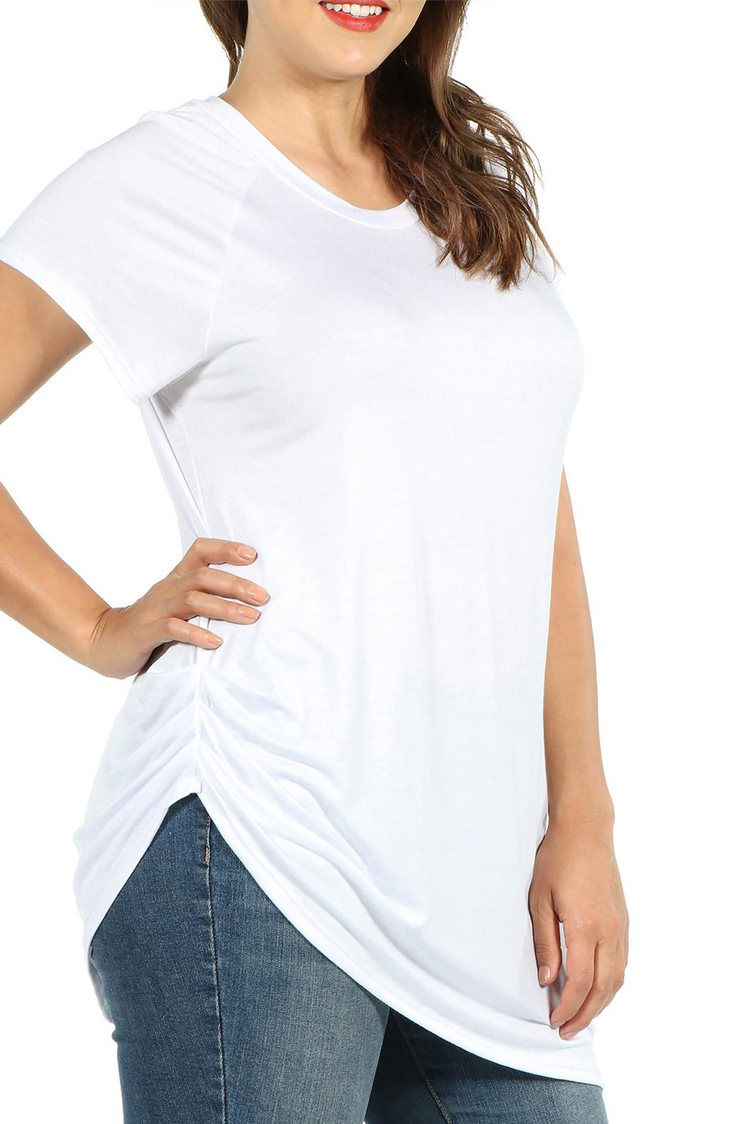 24/7 Comfort Apparel Plus Asymmetric Tee - Front Full Image