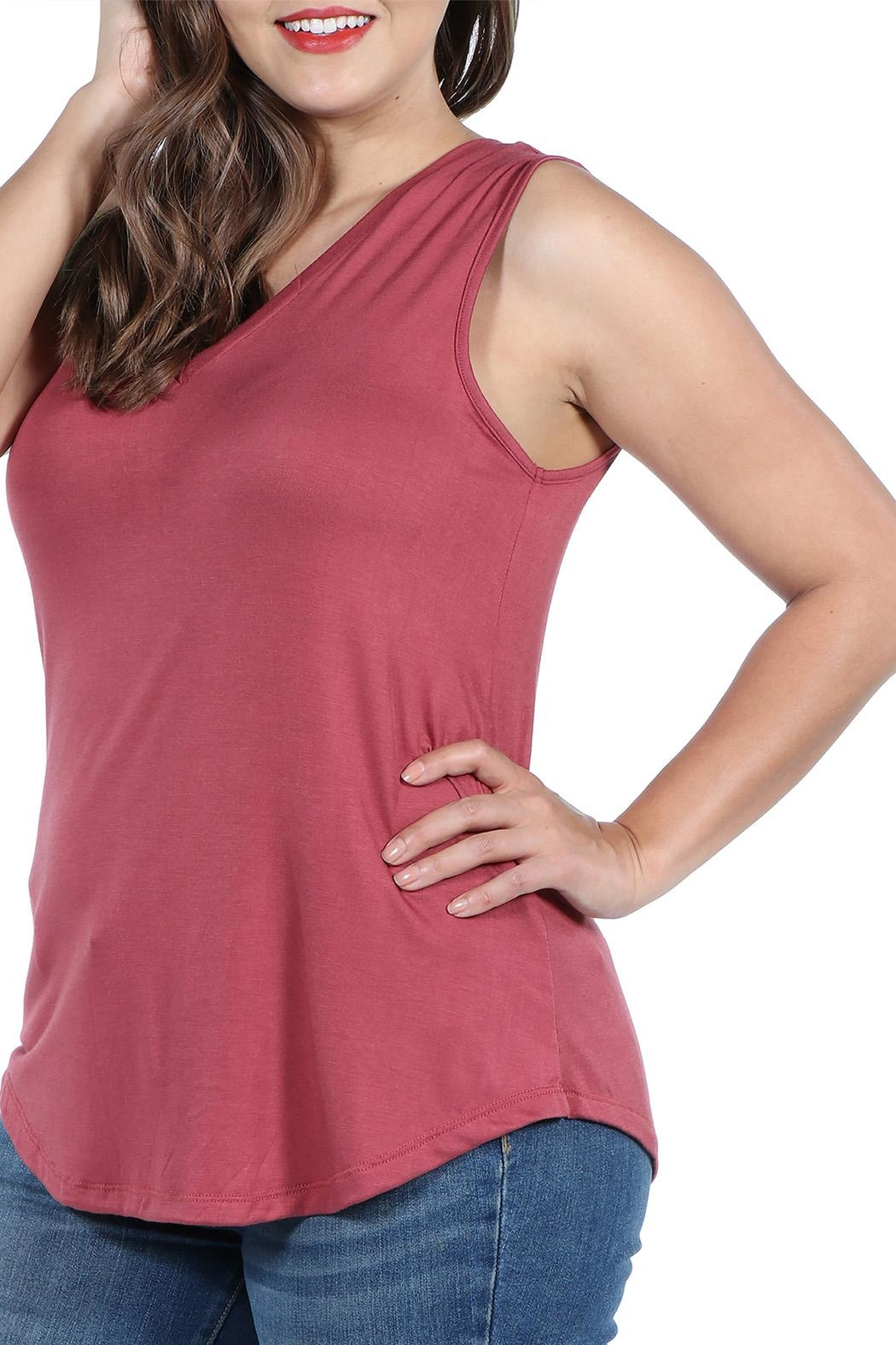 24/7 Comfort Apparel Plus Sleeveless Top - Front Full Image