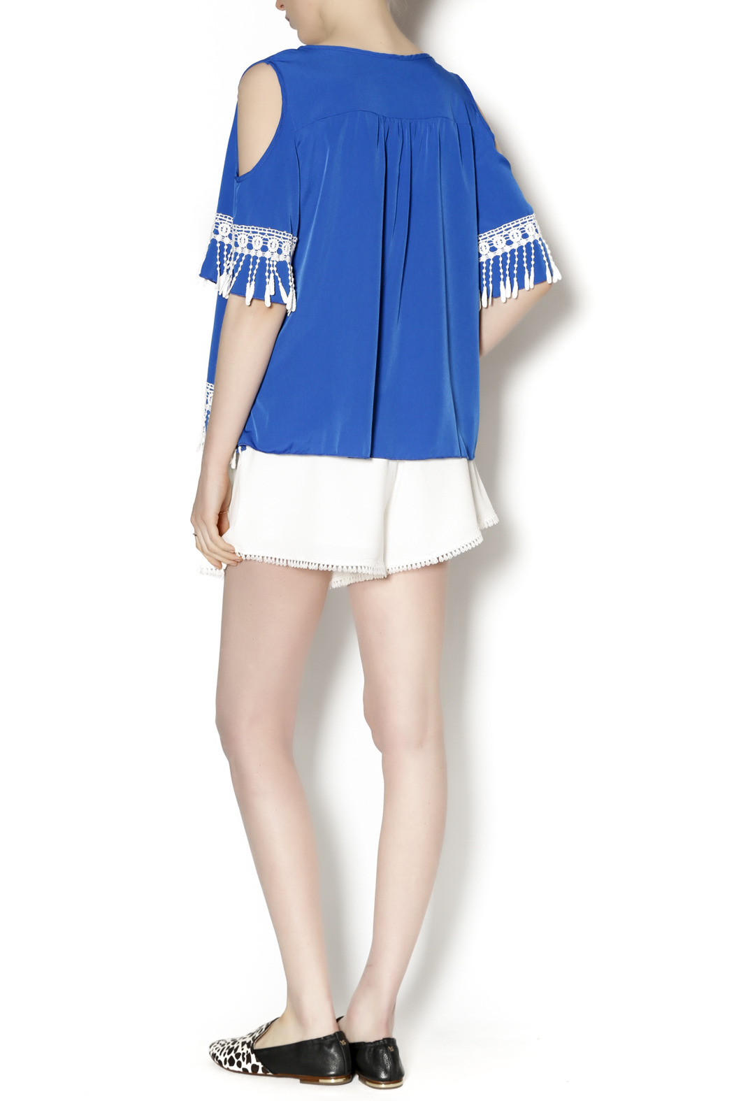 Abby & Taylor Blue Crochet Trim Tunic - Side Cropped Image