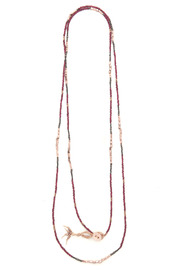 Shoptiques Product: Single Strand Duo Tone Necklace-Red