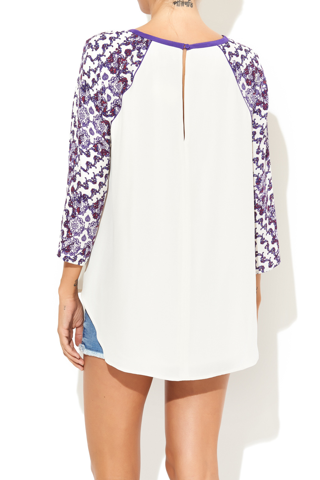 Rebecca Minkoff Print Sleeve Baseball Blouse - Back Cropped Image