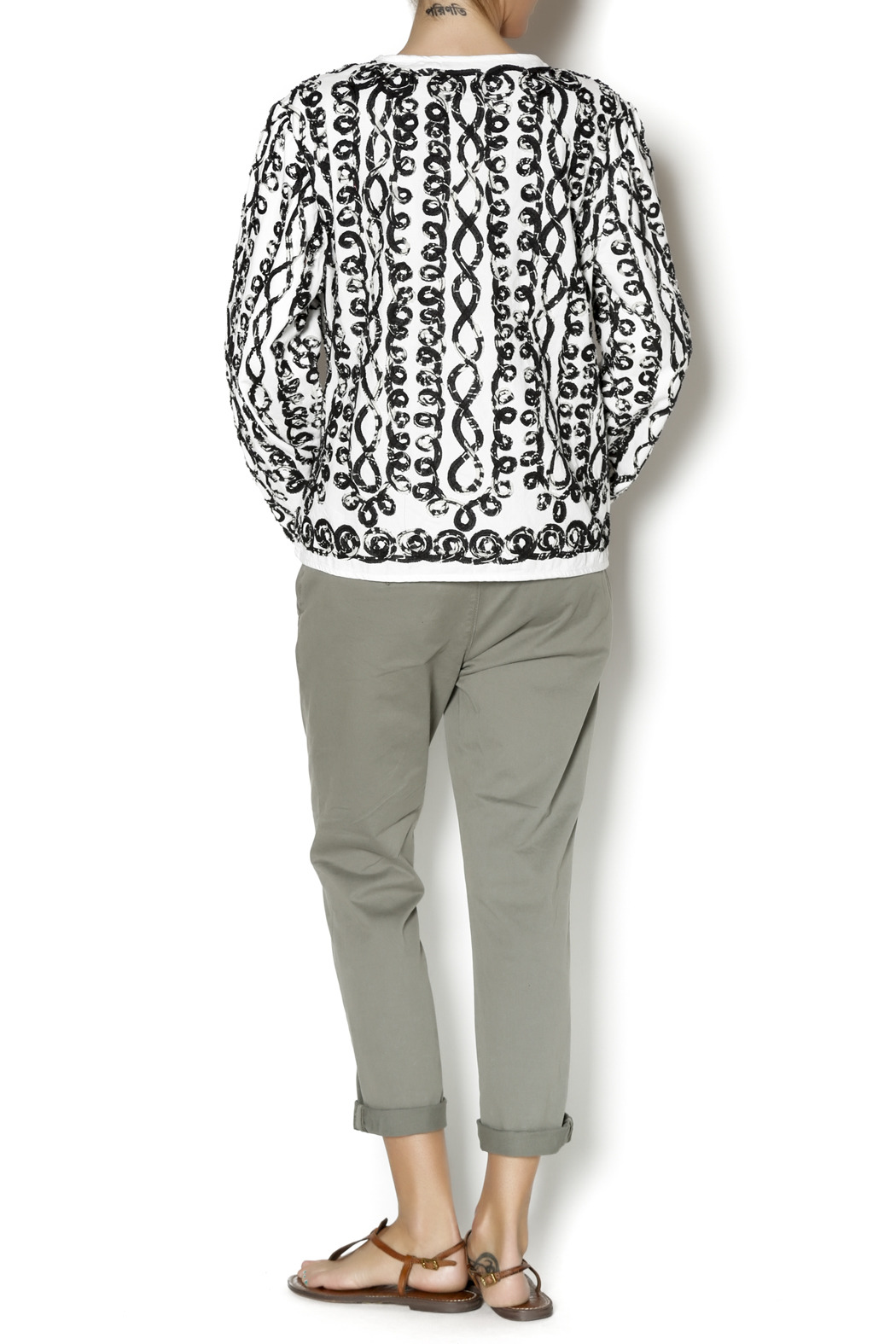 Keren Hart Black White Cardigan - Side Cropped Image