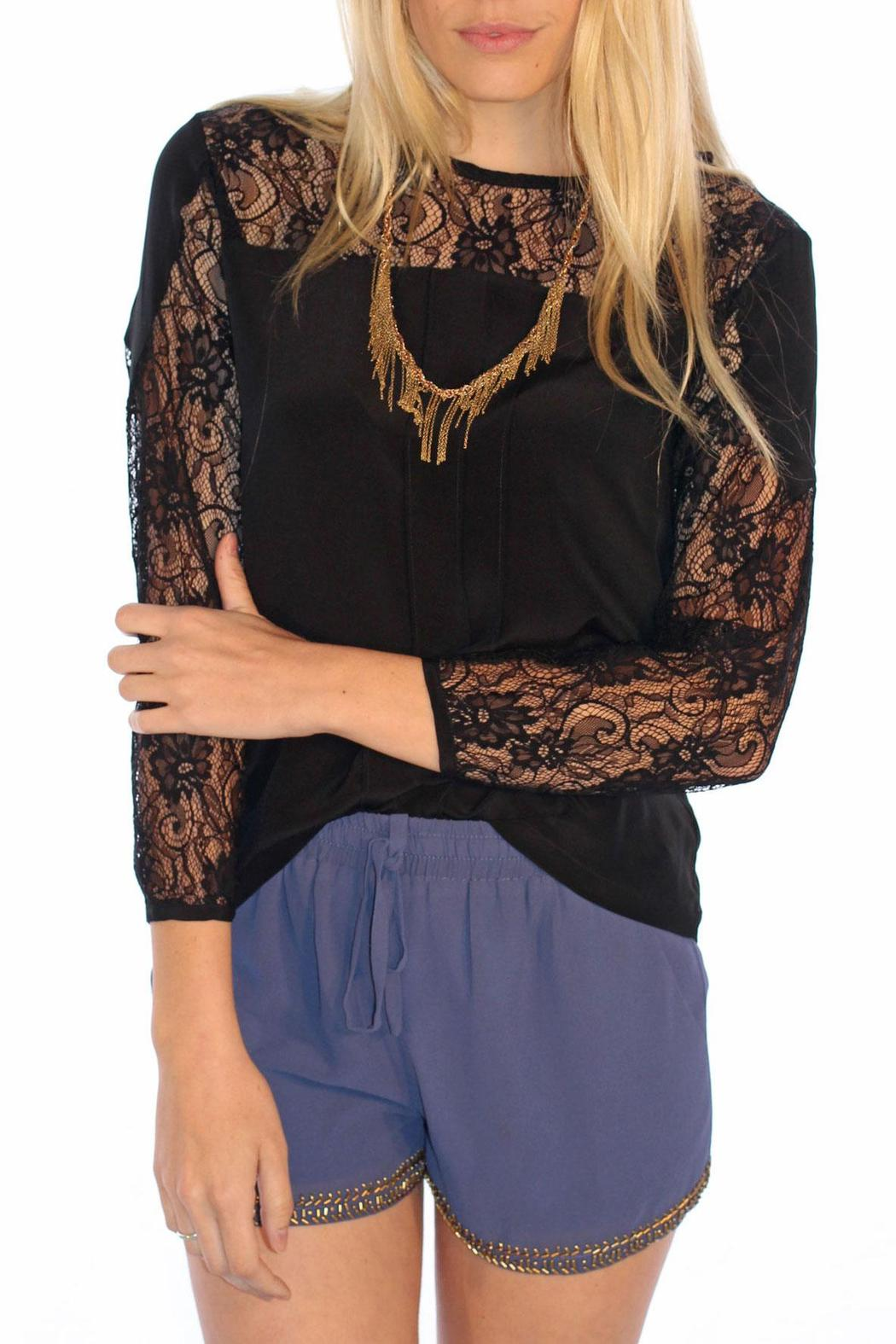 MYNE Lace Silk Top - Front Cropped Image