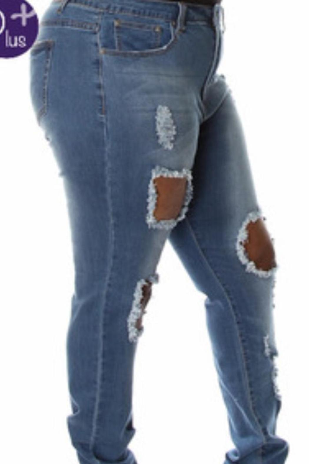 Posh Curves Curve Distressed Jean - Front Full Image