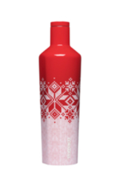 Corkcicle 25OZ RED FAIRISLE CANTEEN - Front cropped