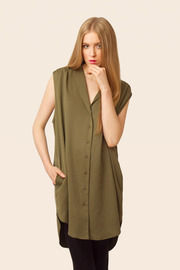 Shoptiques Product: Sleeveless Button-up Blouse - Front cropped