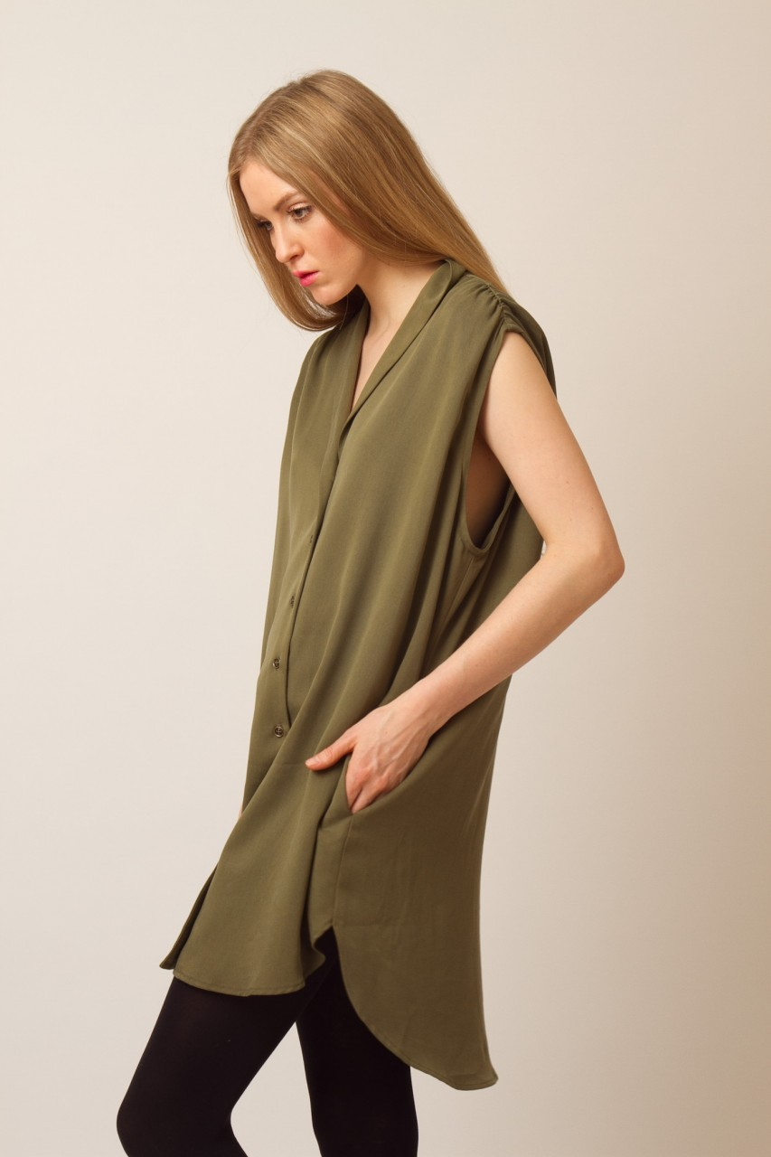 Wren Sleeveless Button-up Blouse - Side Cropped Image