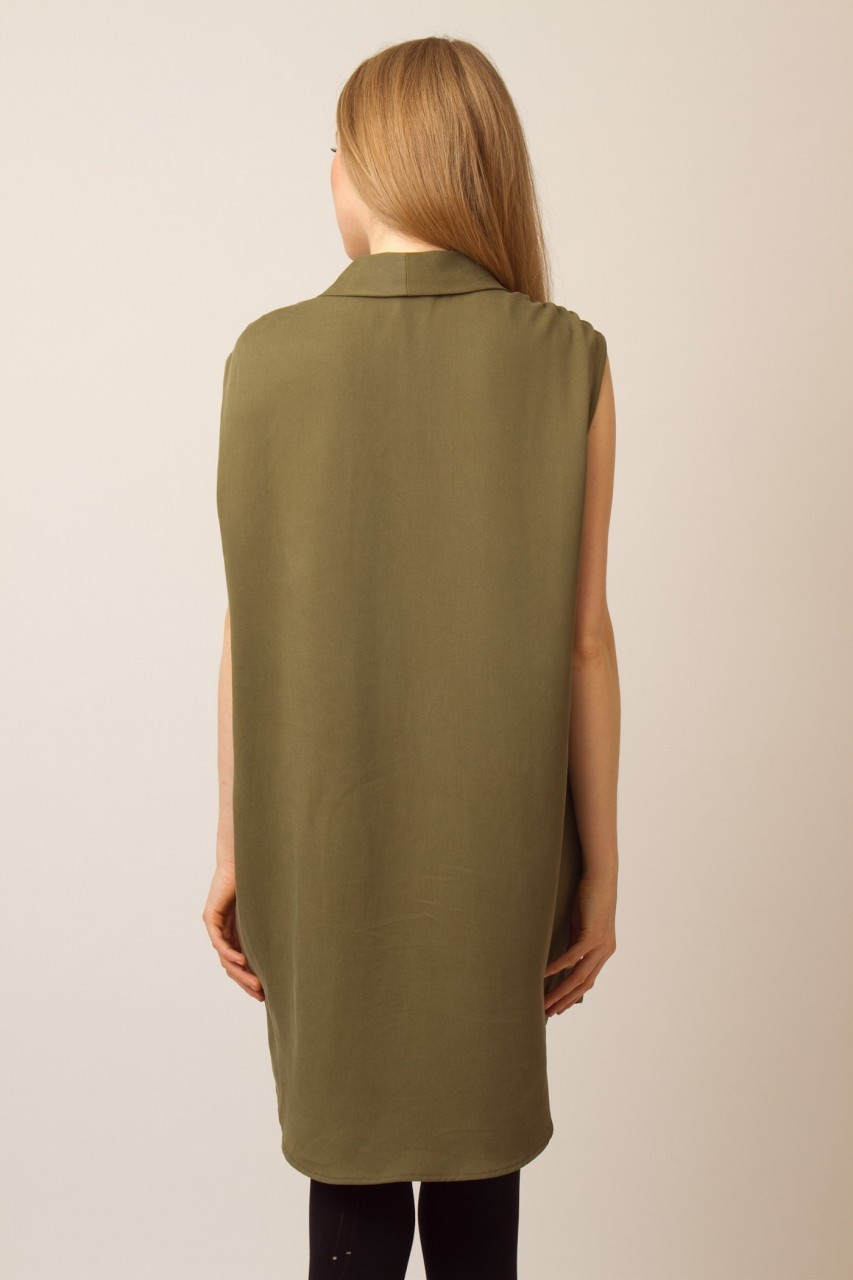 Wren Sleeveless Button-up Blouse - Back Cropped Image