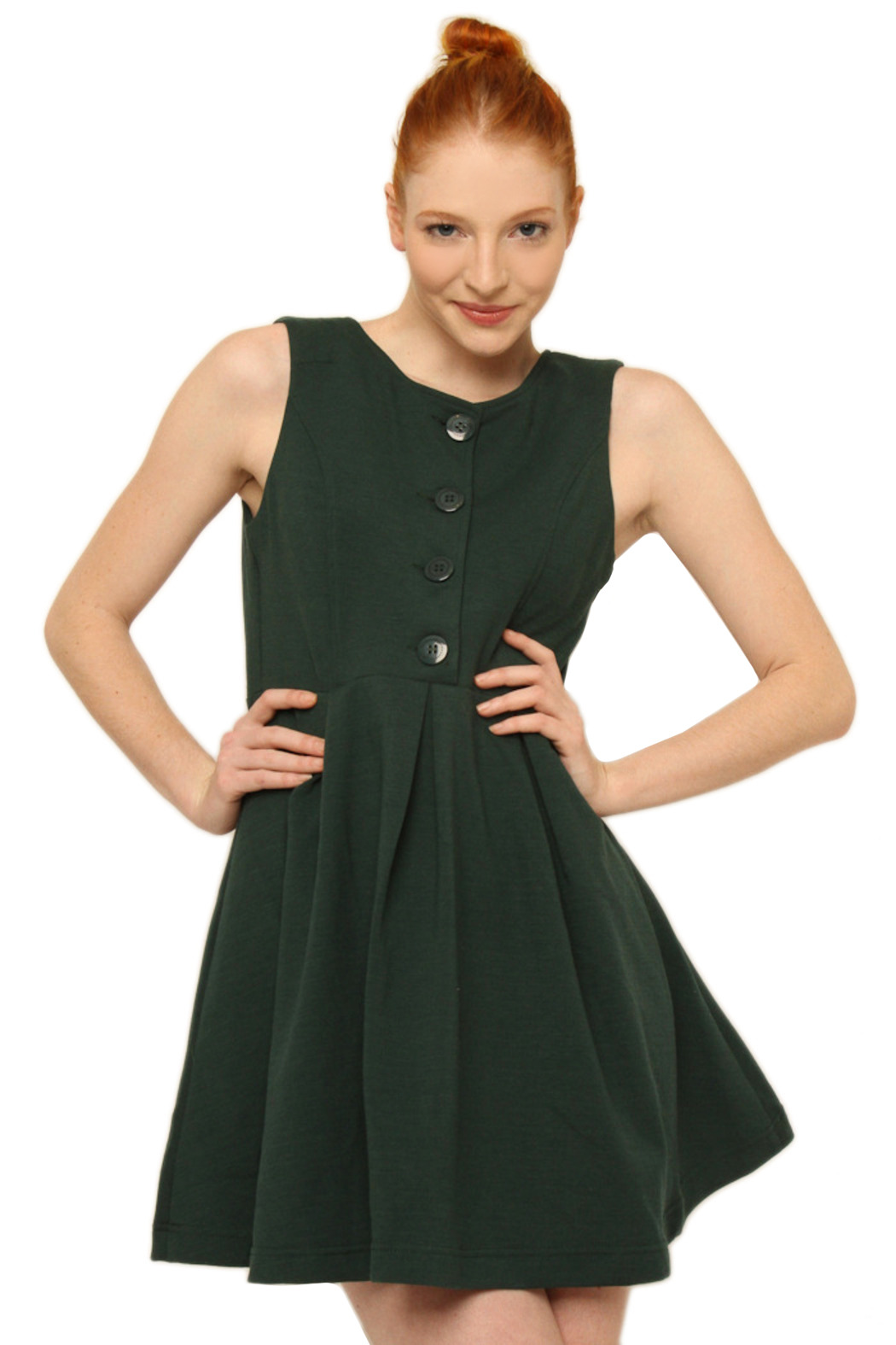 Aoyama Itchome Sleeveless Button Dress - Front Cropped Image