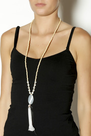 Jewels By Joanne Long Wood Tassel Necklace - Front full body
