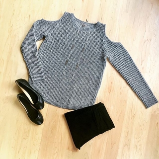 Shoptiques Product: Gray Top With Cold Shoulder